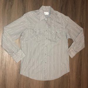 Wrangler Wrancher Shirt Mens Gray Pinstripe Size L